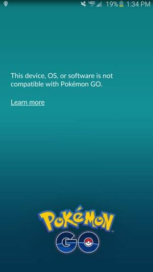 "Ошибка ""The device, OS, or software is not compatible with Pokemon Go"