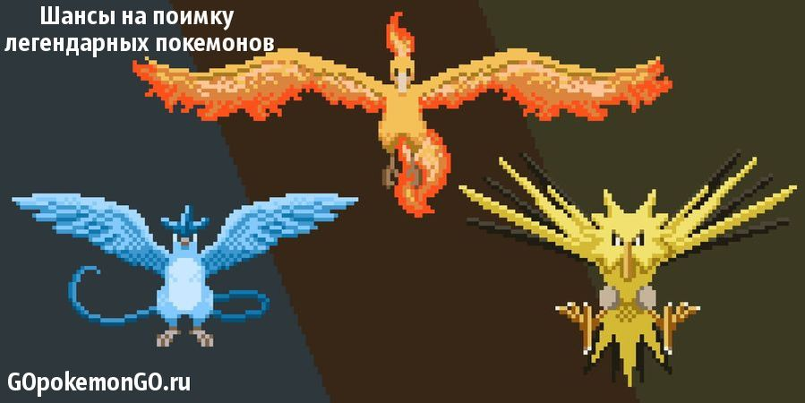 Шансы на поимку легендарных покемонов в Pokemon GO
