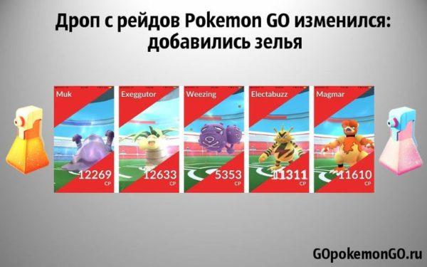 Дроп с рейдов Pokemon GO изменился: добавились зелья
