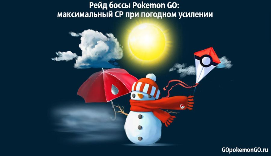 Рейд боссы Pokemon GO: максимальный CP при погодном усилении