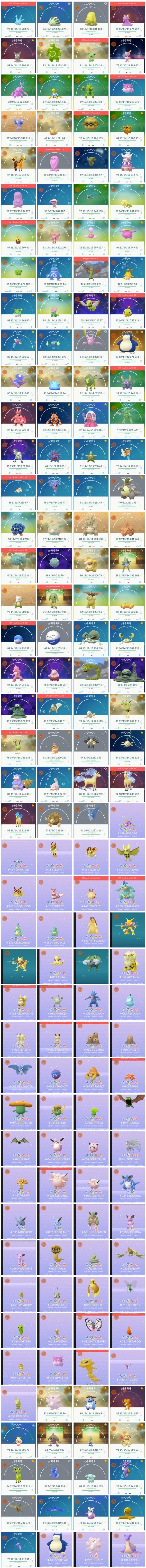 Почти все блестящие покемоны 1 и 2 поколения найдены в сетевом трафике Pokemon GO