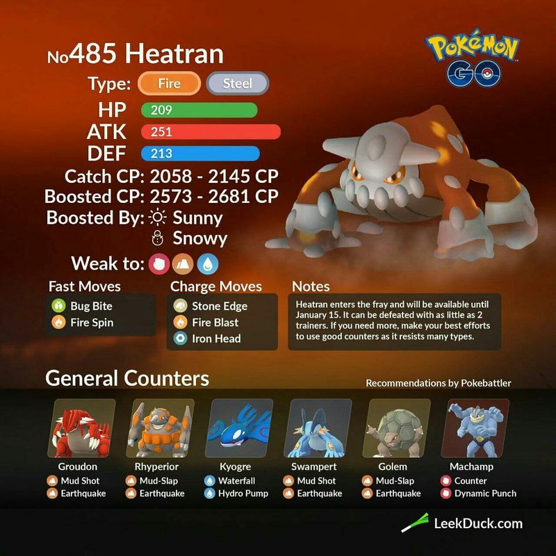 Heatran (Хитран) - рейд босс в Pokemon GO: полный гайд