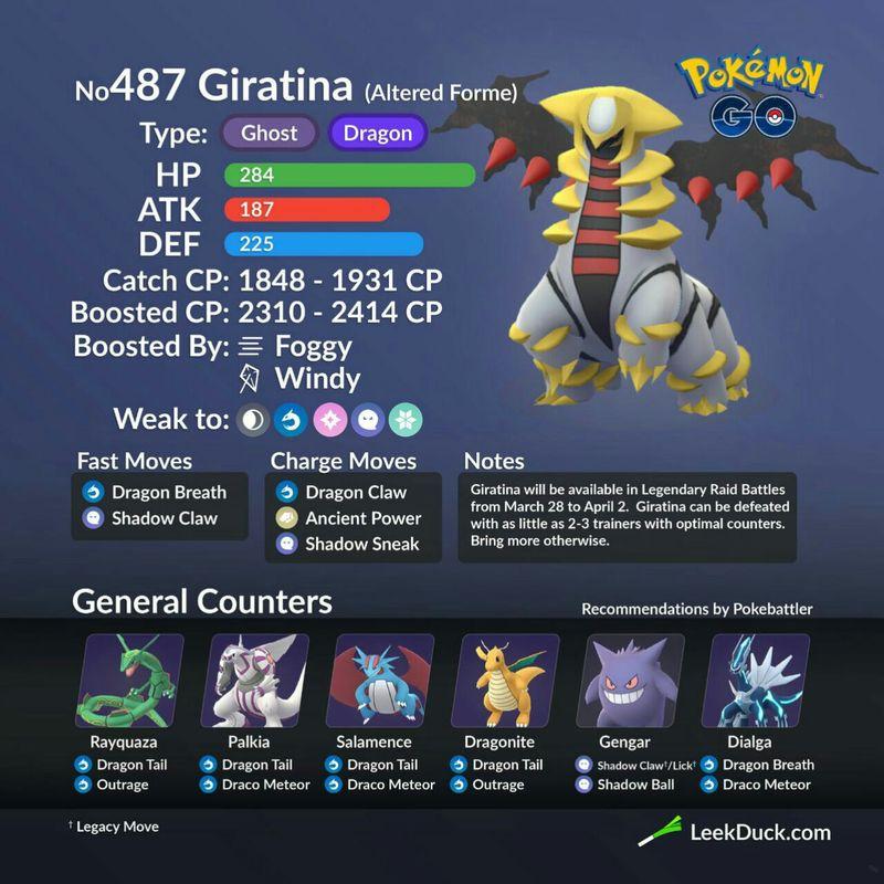 Гиратина (Giratina (Origin Forme) - рейд босс в Pokemon GO: полный гайд