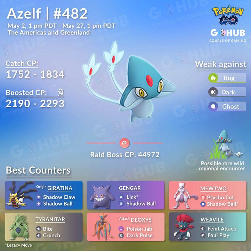 Юкси, Месприт и Азельф в Pokemon GO (ивент Озерное Трио)!