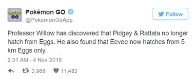 Eevee из яйца 5 км, Pidgey и Rattata больше не будет в яйцах