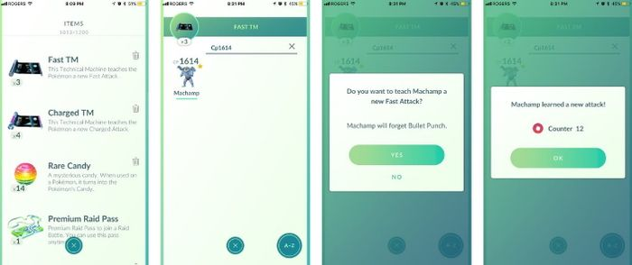 Использование Fast TM и Charged TM в Pokemon GO