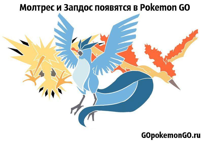 Молтрес и Запдос появятся в Pokemon GO
