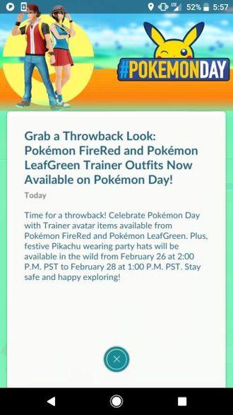 Одежда Pokemon FireRed и LeafGreen в Pokemon GO