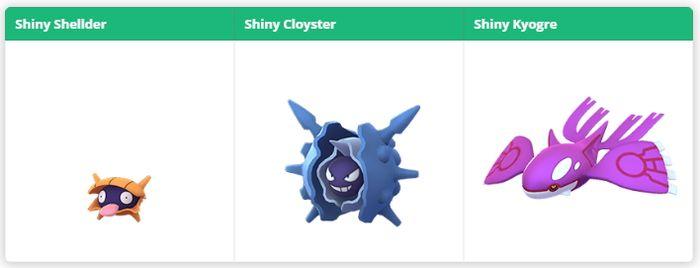 Shiny Shellder Shiny Cloyster Shiny Kyogre