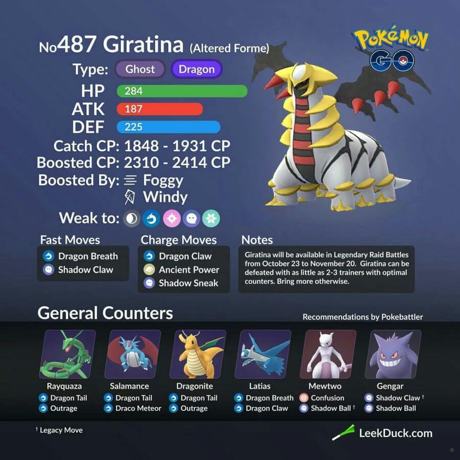 Гиратина (Giratina - Altered Form) - рейд босс в Pokemon GO