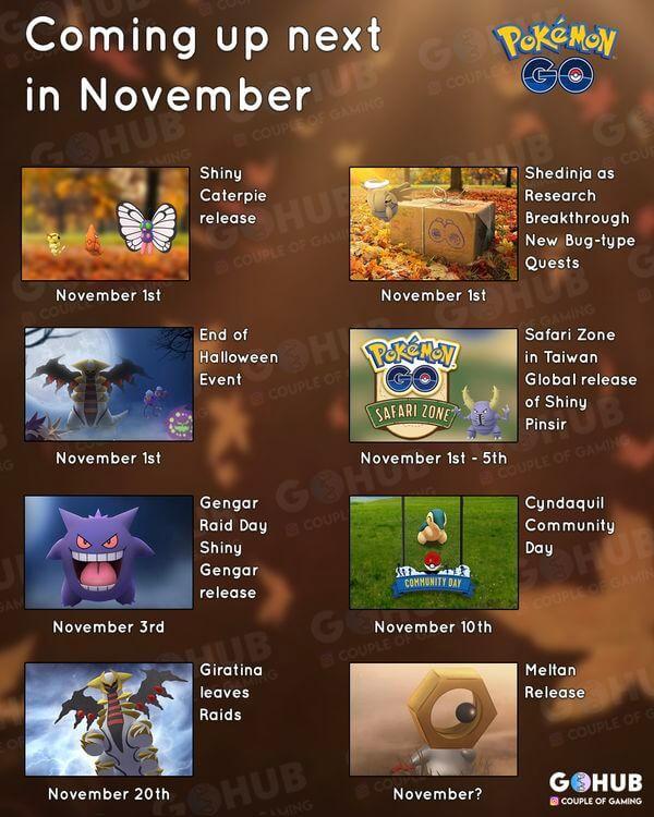 Ноябрь в Pokemon GO - жаркое время! (список событий)