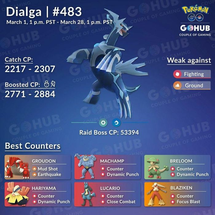 Диалга (Dialga) - рейд босс в Pokemon GO